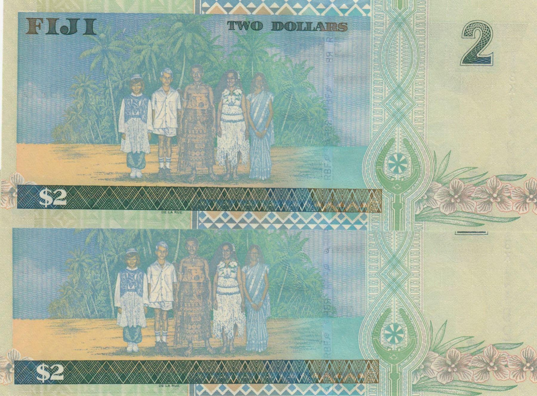 Banknote UNC $2 Dollars Fiji  2002 QEII