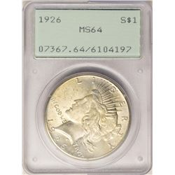 1926 $1 Peace Silver Dollar Coin PCGS MS64 Old Green Rattler Holder
