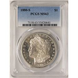1880-S $1 Morgan Silver Dollar Coin PCGS MS63