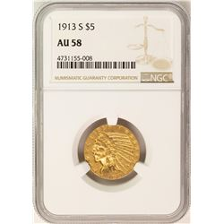 1913-S $5 Indian Head Half Eagle Gold Coin NGC AU58