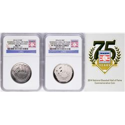 Opening Day 2014-D & 2014-S Baseball Hall of Fame Half Dollar Coins NGC MS70/PF70