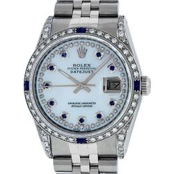 Rolex Mens Stainless Steel MOP Diamond Lugs & Sapphire String Datejust Wristwatch