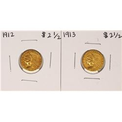 Lot of 1912-1913 $2 1/2 Indian Head Quarter Eagle Gold Coins
