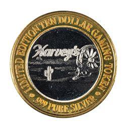 .999 Fine Silver Harveys Resort Lake Tahoe, Nevada $10 Limited Edition Gaming Token