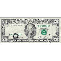 1985 $20 Federal Reserve Note Misaligned Overprint ERROR