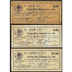 Lot of (3) 1933 Gorton-Pew Fisheries Co., LTD Massachusetts Depression Scrip Notes