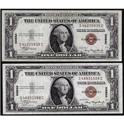 Lot of (2) 1935A $1 Hawaii WWII Emergency Issue Silver Certificate Notes