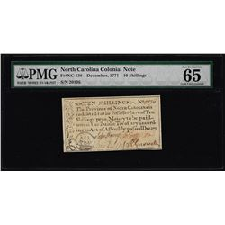 December, 1771 North Carolina 10 Shillings Colonial Currency Note PMG Gem Unc. 65EPQ