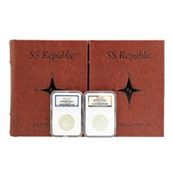 S.S. Republic Shipwreck 1859-O & 1860-O Seated Liberty Half Dollar Coins NGC Graded