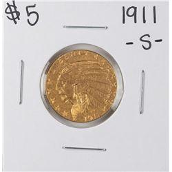 1911-S $5 Indian Head Half Eagle Gold Coin