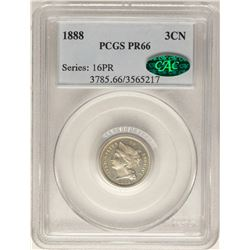 1888 Proof Three Cent Nickel Coin PCGS PR66 CAC