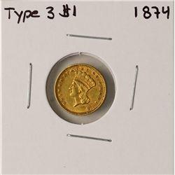 1874 Type 3 $1 Indian Princess Head Gold Dollar Coin