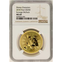 2018 Niue $250 Scrooge McDuck Disney Gold Coin NGC MS69