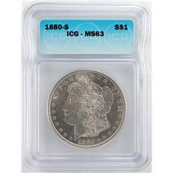 1880-S $1 Morgan Silver Dollar Coin ICG MS63
