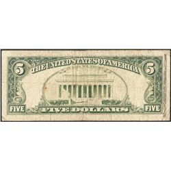 1985 $5 Federal Reserve Partial Offset ERROR Note