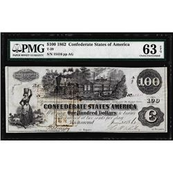 1862 $100 Confederate State of America Note T-39 PMG Choice Uncirculated 63EPQ