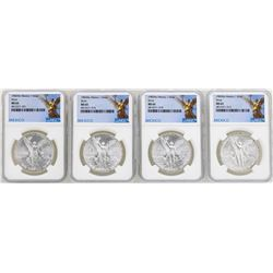 Lot of (4) 1982Mo Mexico Libertad Onza Silver Coins NGC MS65