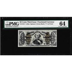 March 3, 1863 Fifty Cents Third Issue Fractional Currency Note PMG Choice Unc. 64