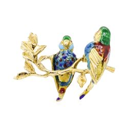 18KT Yellow Gold Enameled Parrot Pin