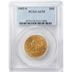1903-S $10 Liberty Head Eagle Gold Coin PCGS AU55