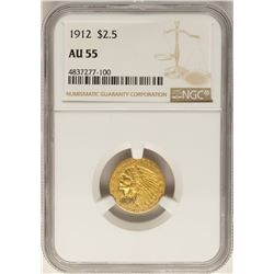 1912 $2 1/2 Indian Head Quarter Eagle Gold Coin AU55