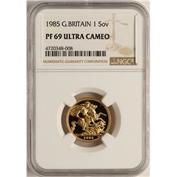 1985 Great Britain Sovereign Gold Coin NGC PF69 Ultra Cameo