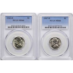 Lot of 1943-D & 1947-D Jefferson Nickel Coins PCGS MS66