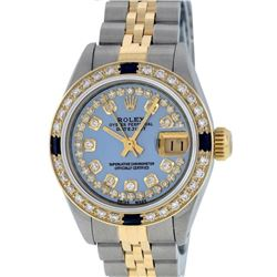 Rolex Ladies Two Tone Blue Mother Of Pearl Diamond & Sapphire Datejust