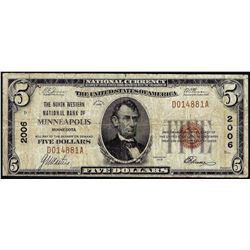 1929 $5 North Western NB of Minneapolis, MN CH# 2006 National Currency Note