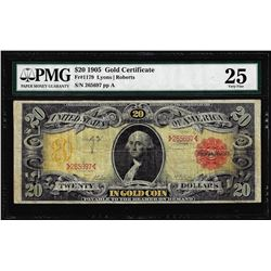 1905 $20 Technicolor Gold Certificate NoteFr.1179 PMG Very Fine 25