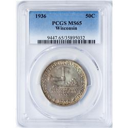 1936 Wisconsin Centennial Commemorative Half Dollar Coin PCGS MS65 Amazing Color