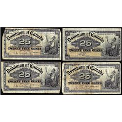 Lot of (4) 1900 Dominion of Canada Twenty-Five Cent Notes