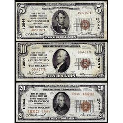 Set of 1929 $5/$10/$20 BofA San Francisco, CA CH# 13044 National Currency Notes