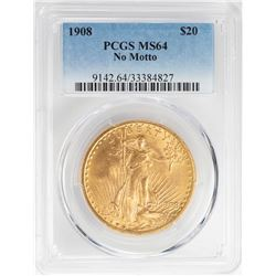 1908 $20 No Motto St. Gaudens Double Eagle Gold Coin PCGS MS64