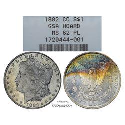1882-CC $1 Morgan Silver Dollar Coin GSA Hoard NGC MS62 Proof Like Amazing Toning