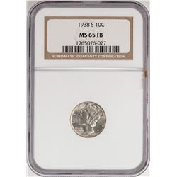 1938-S Mercury Dime Coin NGC MS65FB