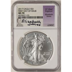 2017 $1 American Silver Eagle Coin NGC MS70 First Day of Issue Signed by Engraver