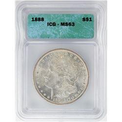 1888 $1 Morgan Silver Dollar Coin ICG MS63