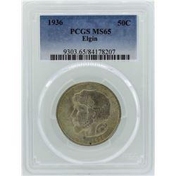 1936 Elgin Illinois Centennial Commemorative Half Dollar Coin PCGS MS65