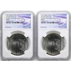 Lot of (2) 1971 Israel 10 Lirot Let My People Go Silver Coins NGC PF67