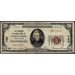 1929 $20 National Bank Wilkes Barre, PA CH# 732 National Currency Note