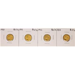 Lot of 1910-1913 $2 1/2 Indian Head Quarter Eagle Gold Coins