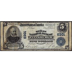 1902PB $5 Pittsburgh, PA CH# 6301 National Currency Note