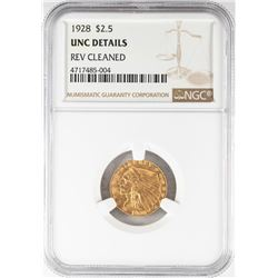 1928 $2 1/2 Indian Head Quarter Eagle Gold Coin NGC Unc Details
