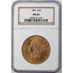 1895 $20 Liberty Head Double Eagle Gold Coin NGC MS64