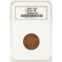 1855 Braided Hair Half Cent Coin NGC MS65RB