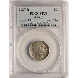 1937-D 3 Legged Buffalo Nickel Coin PCGS VF30