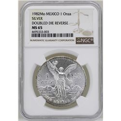 1982Mo Mexico Libertad Onza Doubled Die Reverse Silver Coin NGC MS65