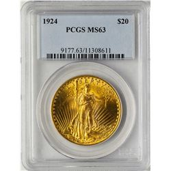 1924 $20 St. Gaudens Double Eagle Gold Coin PCGS MS63