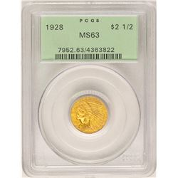 1928 $2 1/2 Indian Head Quarter Eagle Gold Coin PCGS MS63 OGH